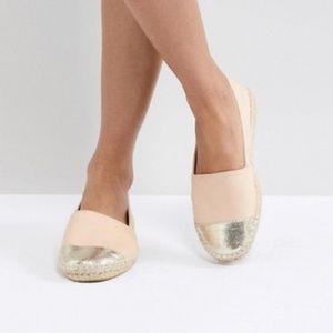 ASOS Blush Pink & Gold Espadrille Loafer Flats